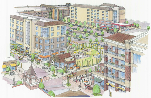 In these renderings College Town looks like an absolute bonanza of pedestrian activity.
