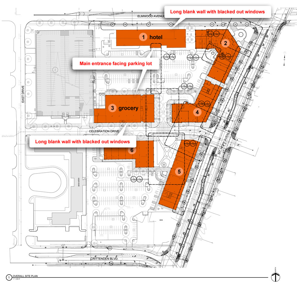 College Town plan view. Buildings 1 and 3 are oriented toward the parking lot with their backs to the street.