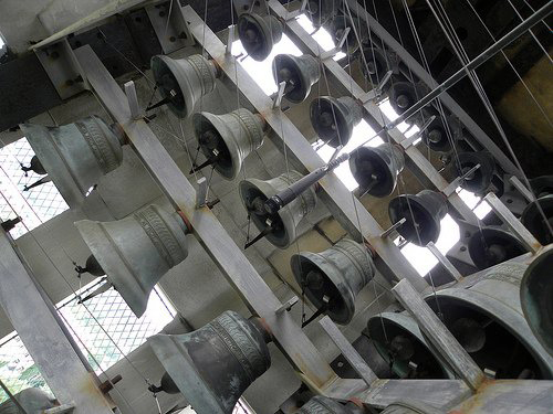 The carillon inside University of Rochester's Rush Rhees Library tower. [PHOTO: University of Rochester Carillon Society]