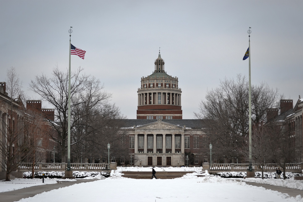 University of Rochester's Rush Rhees Library, originally completed in 1930 and named for Rush Rhees, the university's first president (1900-1935). What do you say we climb up inside this? [PHOTO: RochesterSubway.com]