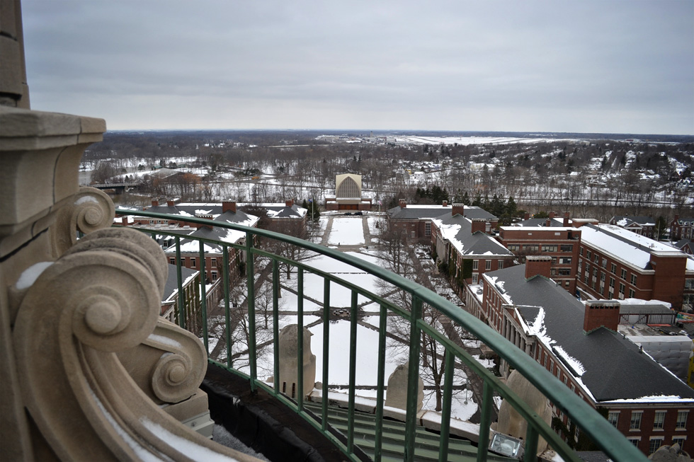We've reached the top! The view of the perfectly symmetrical Eastman Quad—with the Interfaith Chapel at the far end and the frozen Genesee River behind it—is immediately striking. [PHOTO: RochesterSubway.com]