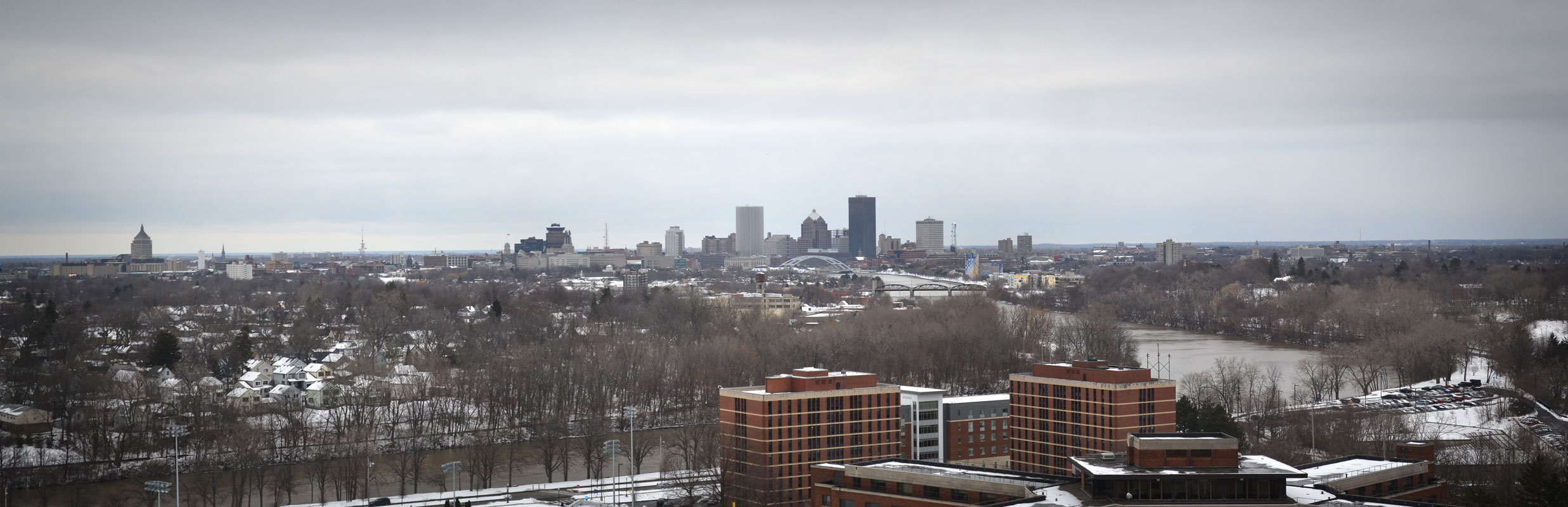 Panorama view of Rochester skyline from top of University of Rochester Rush Rhees Library. [PHOTO: RochesterSubway.com]