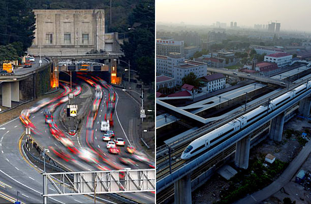 Right: The Caldecott Tunnel is a three bore highway tunnel in Oakland, California. Construction of a fourth bore is estimated at $400 million, of which the American Recovery and Reinvestment Act will provide $280 million. Left: The high-speed rail line that will eventually connect Beijing with Shanghai is expected to cut travel time from 10 hours to four when the line opens in a couple of years. China's economic stimulus plan will help pay for 16,000 miles of new high-speed rail lines.