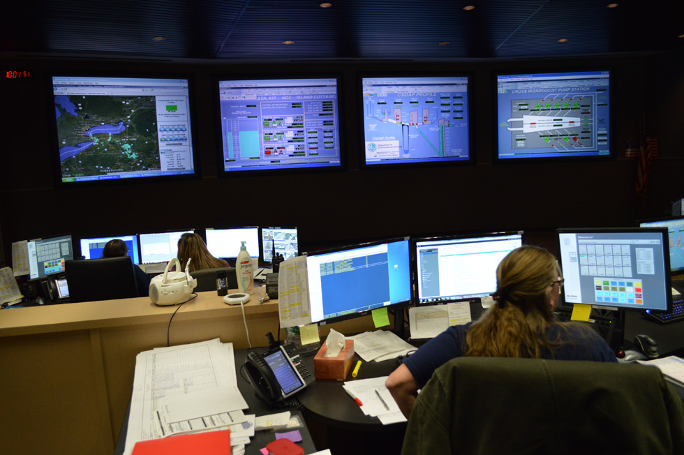 Josephine Guarino manages the control center at Van Lare. This is essentially the brain of the entire system. Weather is constantly monitored, and tunnels and pump facilities can all be monitored and managed from here. [PHOTO: RochesterSubway.com]