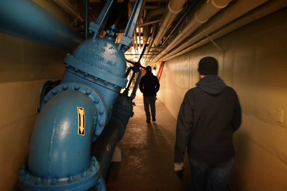 We're going to walk through a series of long underground tunnels following a mess of pumps and pipes through which our sludgy scum is sucked through. [PHOTO: RochesterSubway.com]