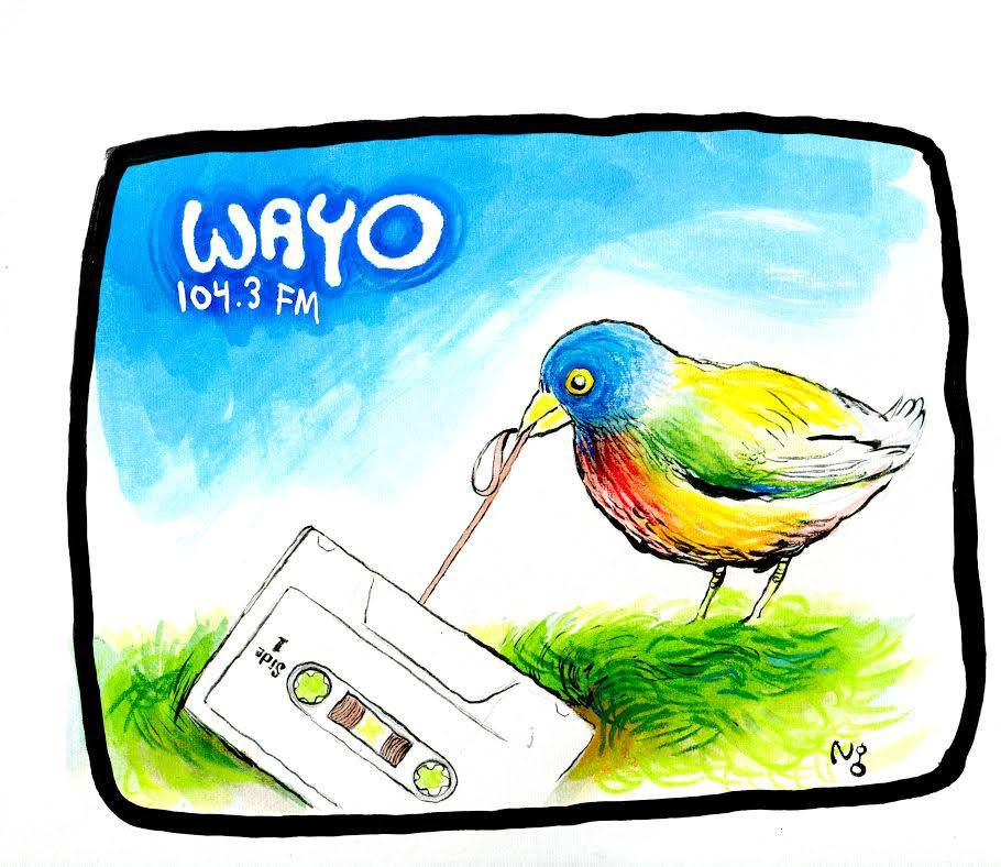 Artwork by Nick Gurewitch featured on a t-shirt that can be purchased at the WAYO website (www.wayofm.org).