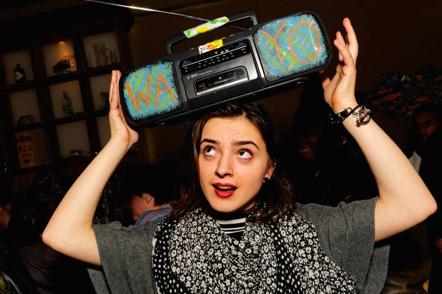 Madalina Ciocanu with the WAYO Boombox at the WAYO Forever event at Banzai and co-sponsored by Whatever Forever and Doing Good ROC, 11/22/14. [PHOTO: Gerry Szymanski]