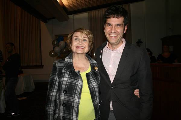 Mike Yates with Rep. Slaughter at the Monroe County Democrats Youth In Activism Expo, October 2014. [PHOTO: Elizabeth McDade]