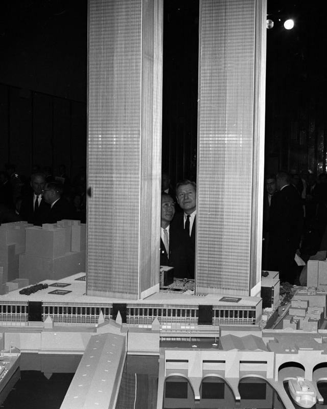 Nelson Rockefeller looks at model of world trade center with its Architect Minoru Yamasaki, Jan. 19, 1964. [PHOTO: John Campbell, Daily News]