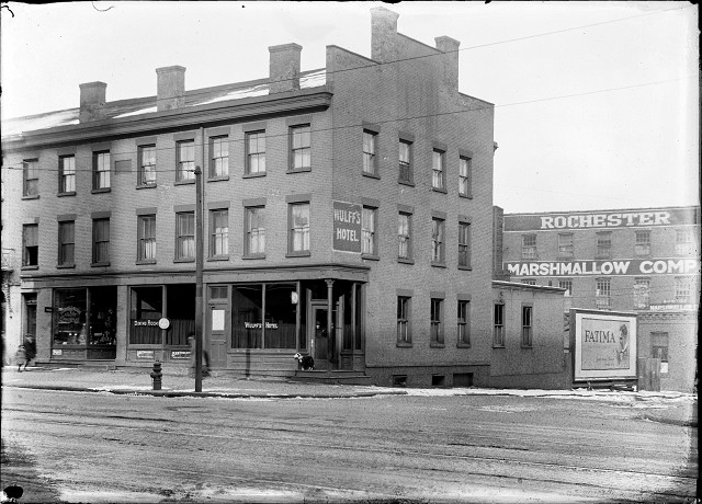 Wulff's Hotel, at the corner of State and Factory Streets in Rochester; the scene of a notorious murder on December 18, 1920. [IMAGE: From the Albert R. Stone Negative Collection, Rochester Museum & Science Center, Rochester, NY.]