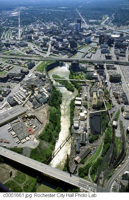 High Falls and the now demolished Beebe Station [PHOTO: Rochester City Hall]