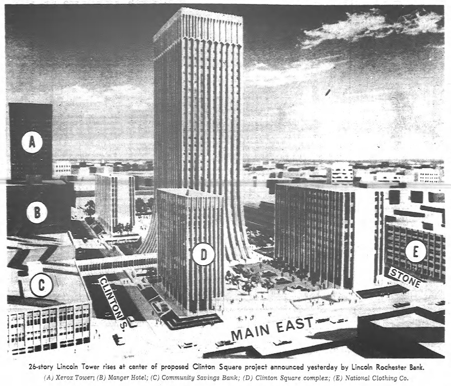 Original Plan for Chase Tower/Clinton Square [PHOTO: Democrat and Chronicle 12/19/1967]