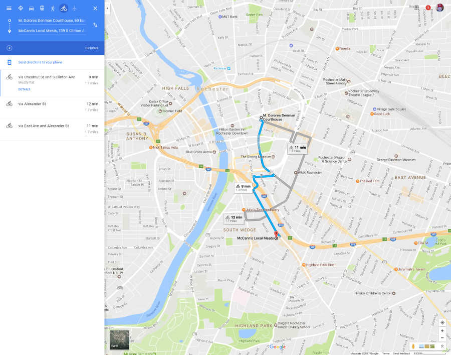 Biking from the City Courthouse to McCanns [PHOTO: Google Maps]
