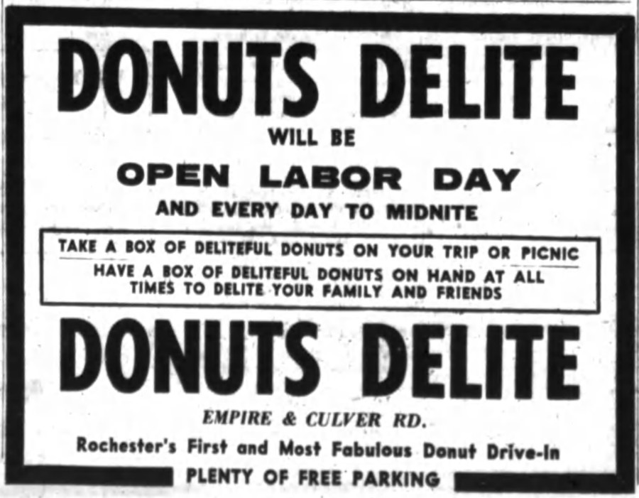 Donuts Delite Ad. [PHOTO: Rochester Democrat and Chronicle 8/29/60]