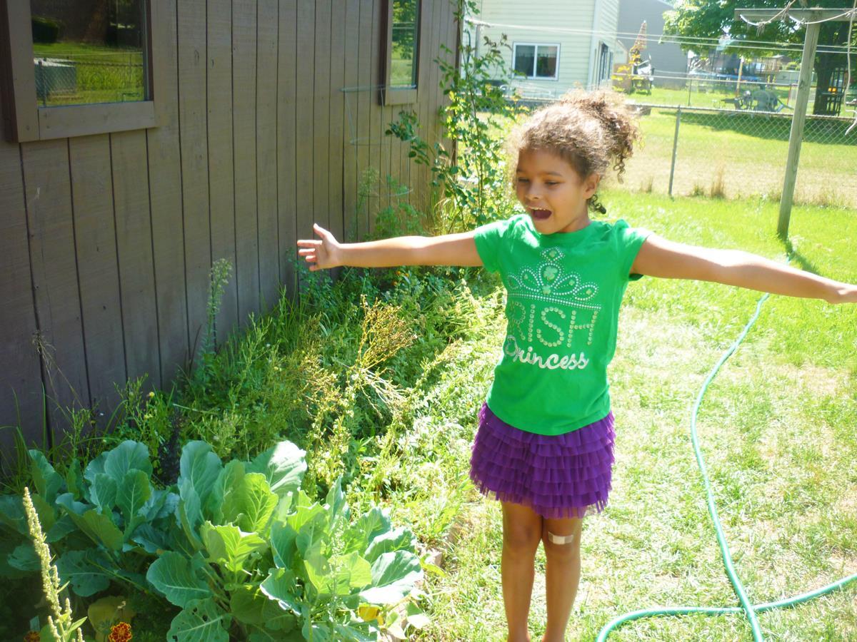 Gloria Gardening [PHOTO: Gloria Grattan]