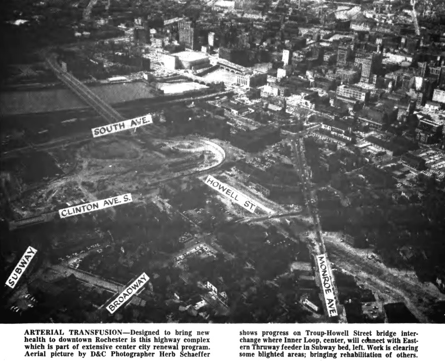 490 and Inner Loop Progress [PHOTO: Rochester Democrat and Chronicle 5/26/57]