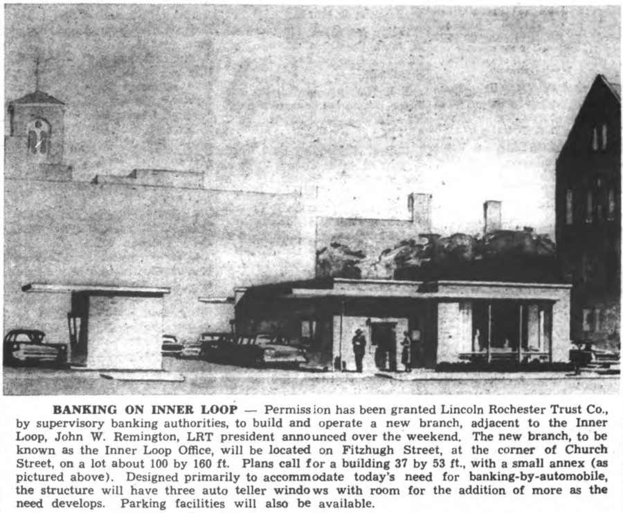 Lincoln Rochester Trust Branch [PHOTO: Rochester Daily Record 6/9/1958]