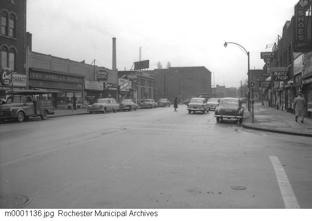 Looking towards the Hungerford Building in EMMA [PHOTO: Rochester Municipal Archives]