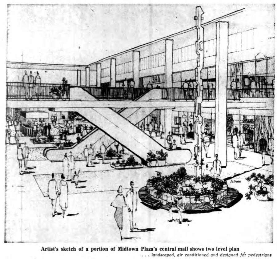 Midtown Plaza Interior Sketch [PHOTO: Buffalo Courier-Express 6/5/1961]