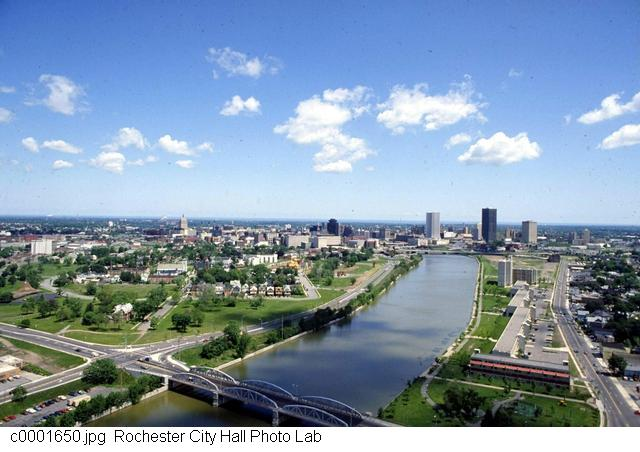 Downtown Rochester with Corn Hill on the left and Mt. Hope on the right [PHOTO: Rochester City Hall]