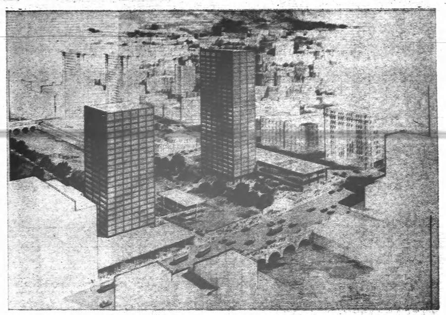 Unbuilt SOM design for Riverside North of Main Street. [PHOTO: Rochester Democrat and Chronicle 4/3/66]