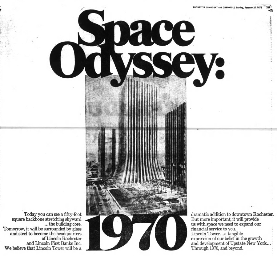 Excerpt of full page ad showing the soon to be completed Lincoln Tower downtown [PHOTO: Rochester Democrat & Chronicle 1/25/1970]