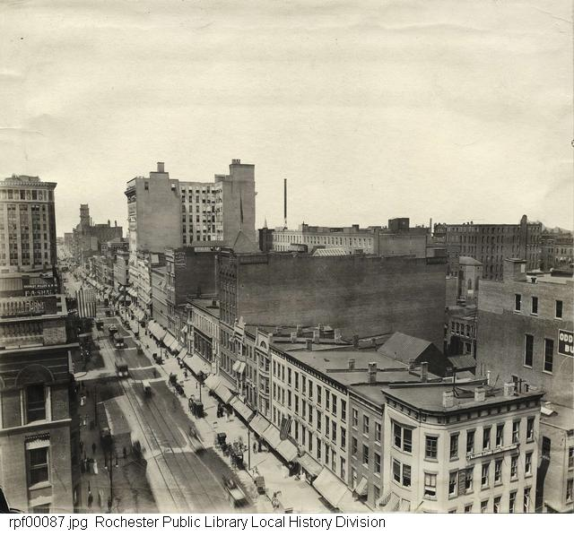 Overhead view of Main Street from Clinton to St. Paul [PHOTO: RPL Local History Division]