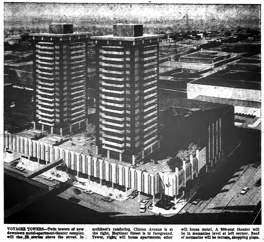 Never built Voyager Towers at the site of the award-winning RTS Bus Terminal [PHOTO: Rochester Democrat & Chronicle 8/15/1965]